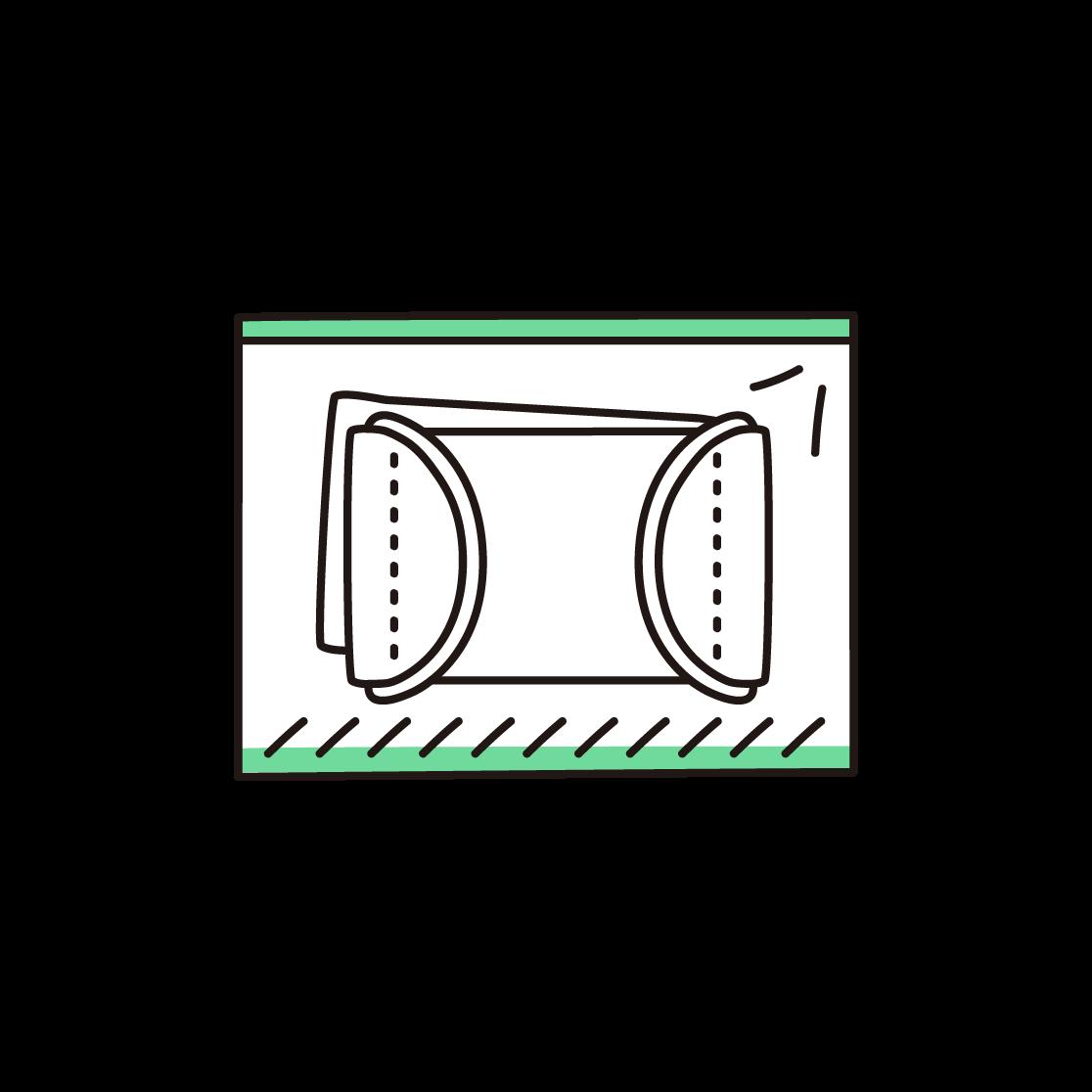 2枚入りの布マスクの単色イラスト