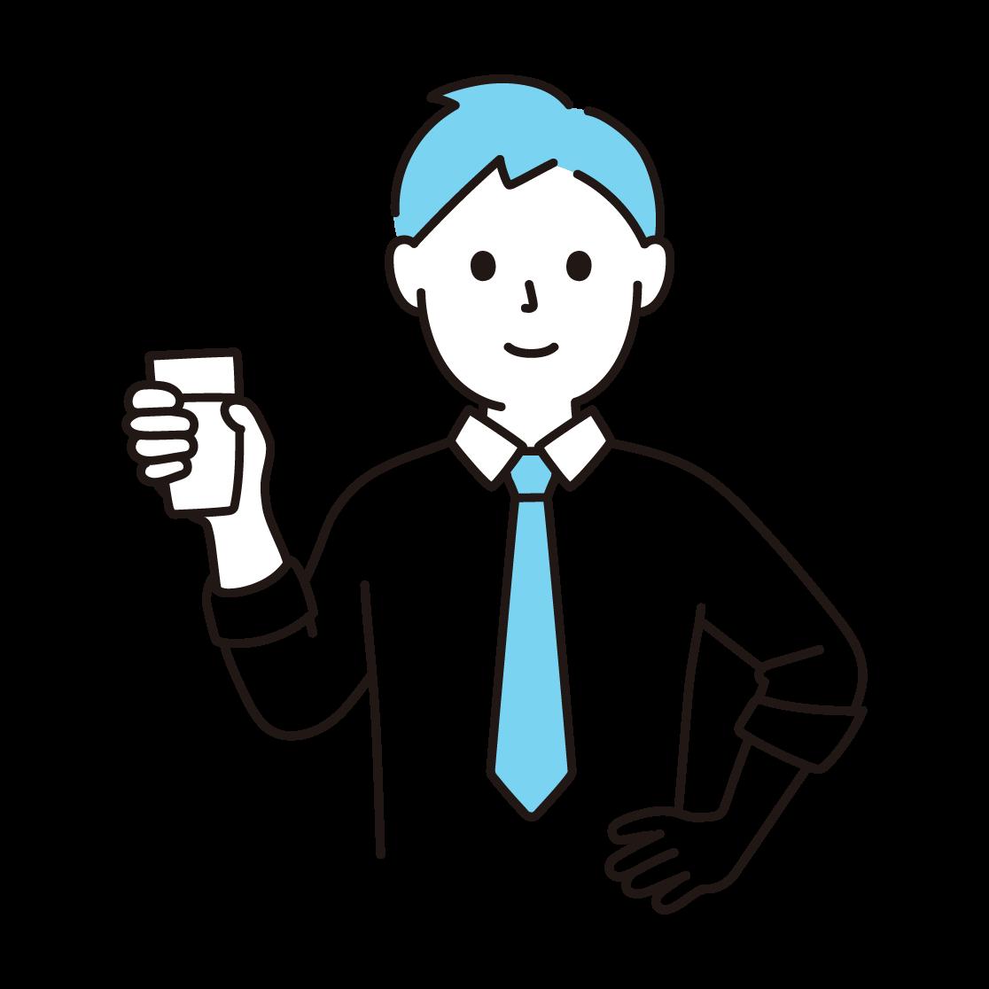 牛乳の入ったコップをもつ人の単色イラスト