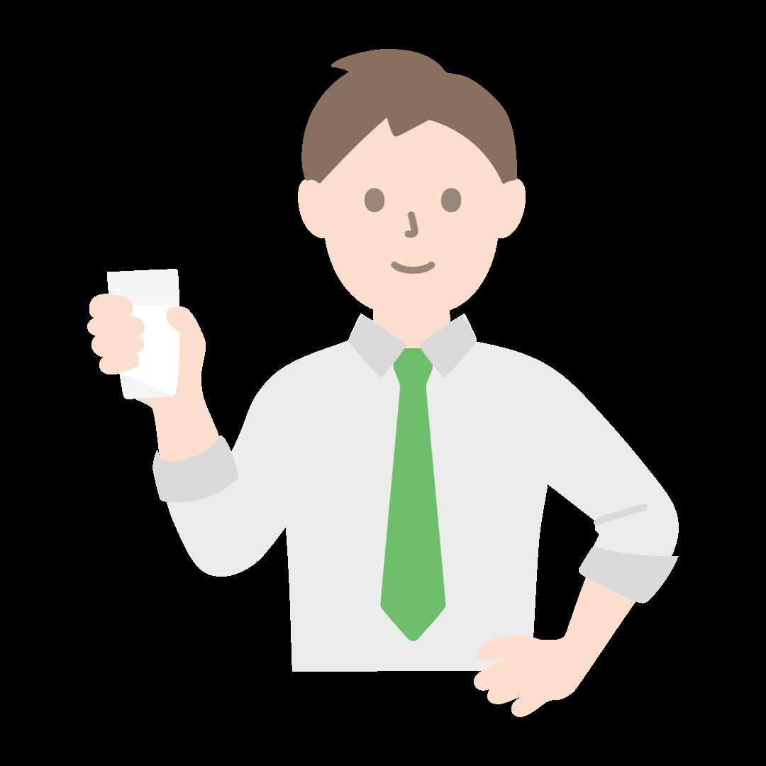 牛乳の入ったコップをもつ人のイラスト(塗り)