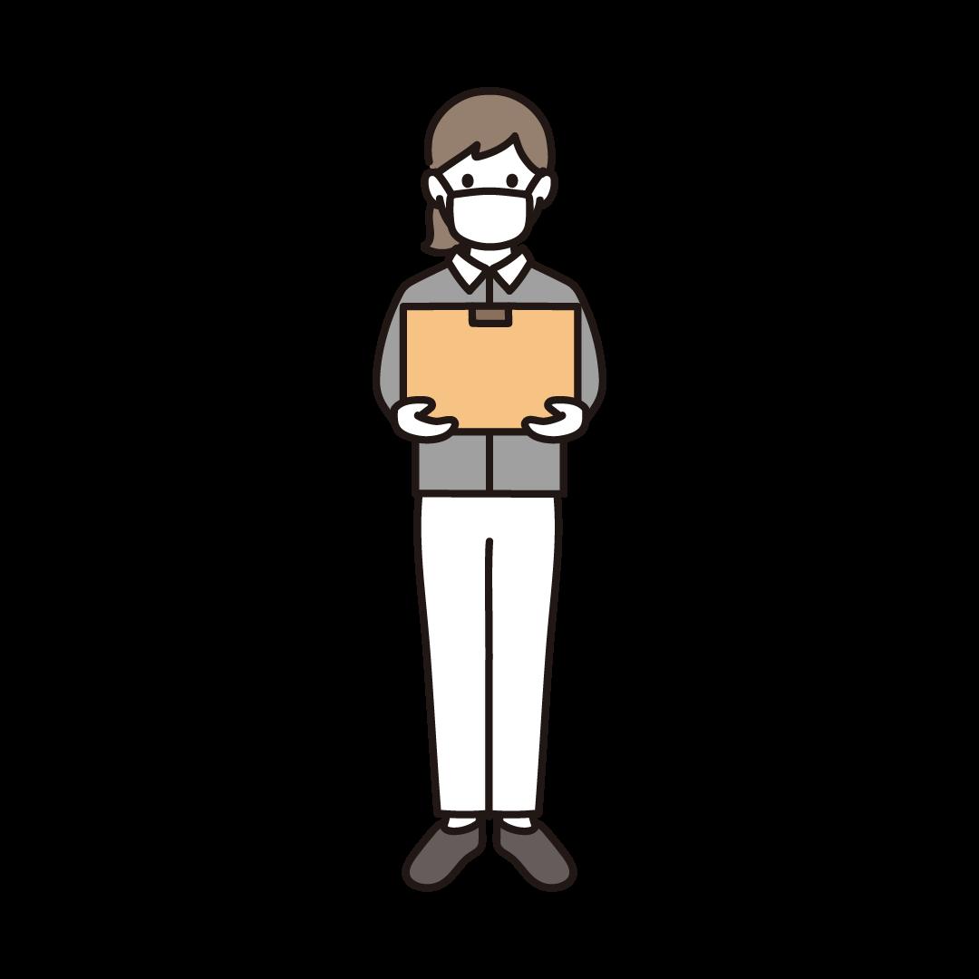 マスクを付けた女性の配達員のイラスト