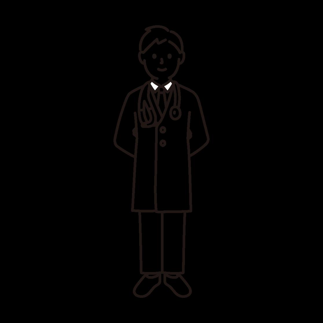 医者の線画イラスト