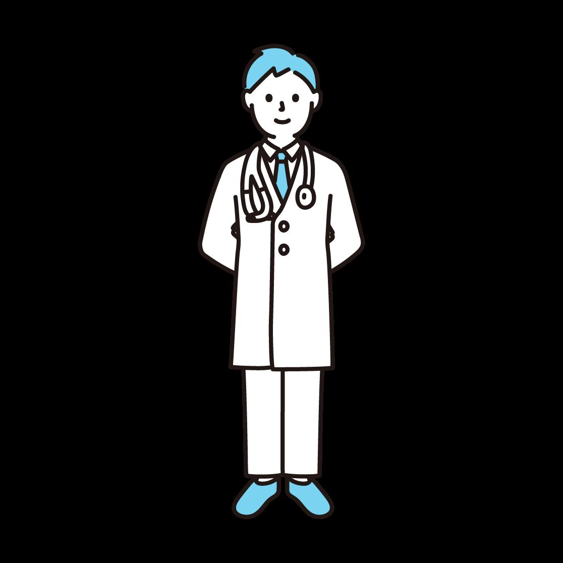 医者の単色イラスト