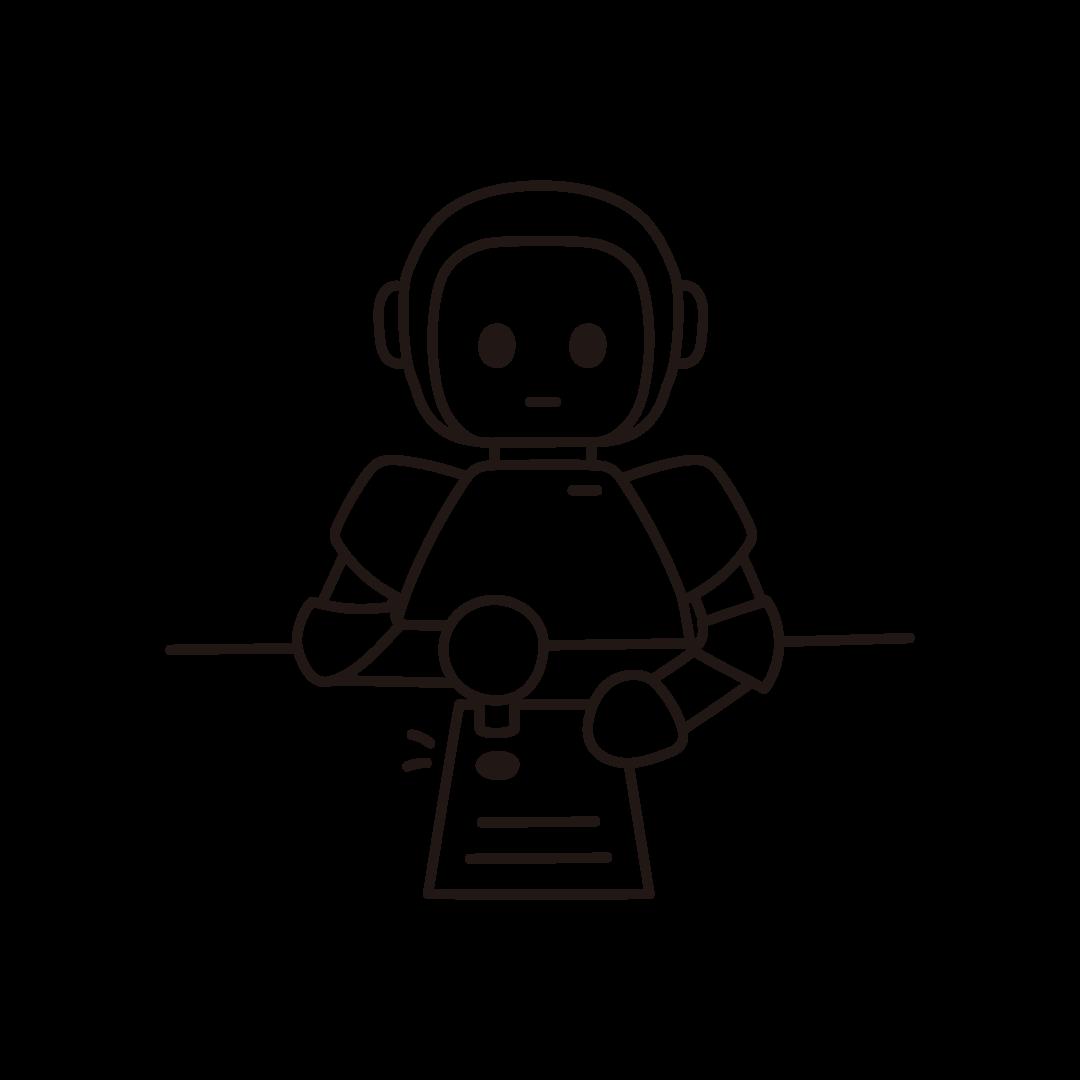 ハンコ押印ロボットのイラスト(線のみ)