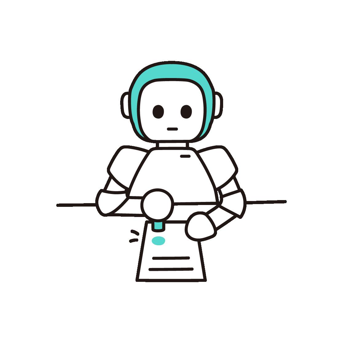 ハンコ押印ロボットの単色イラスト