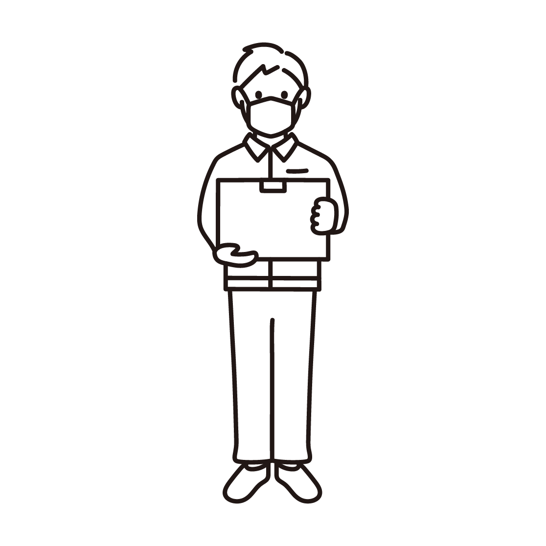 マスクを付けた男性の配達員の線画イラスト