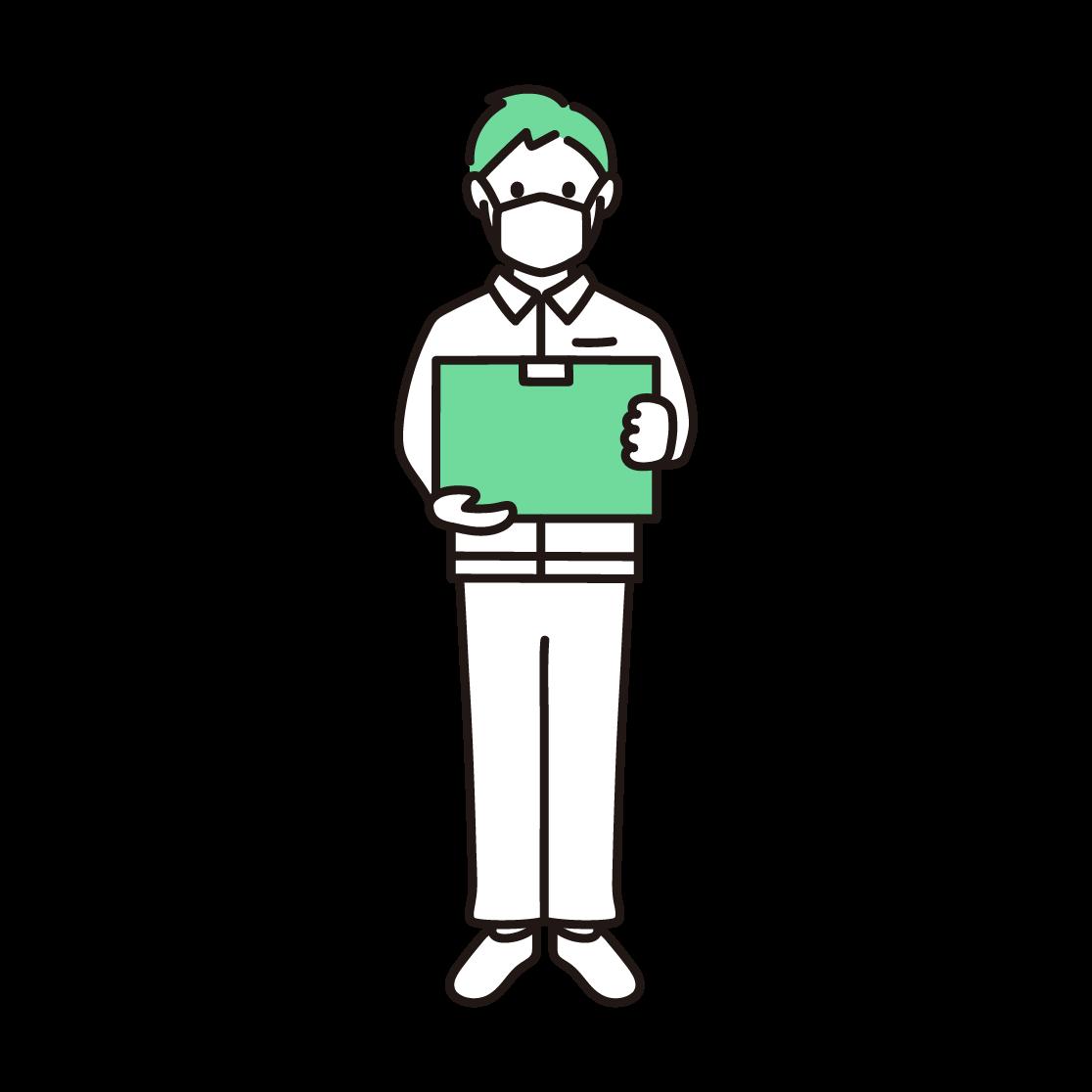マスクを付けた男性の配達員の単色イラスト