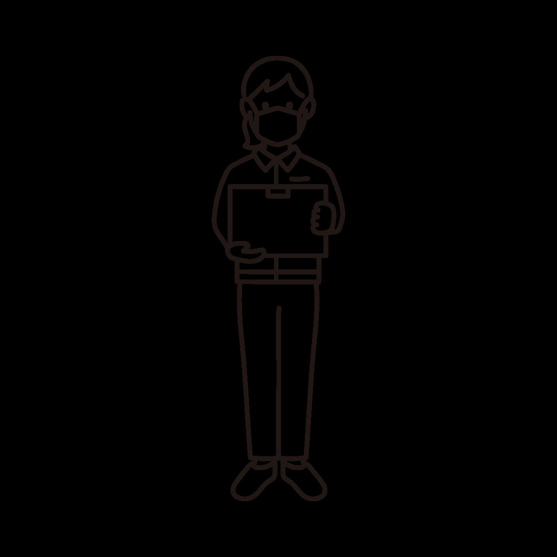 マスクを付けた女性の配達員の線画イラスト