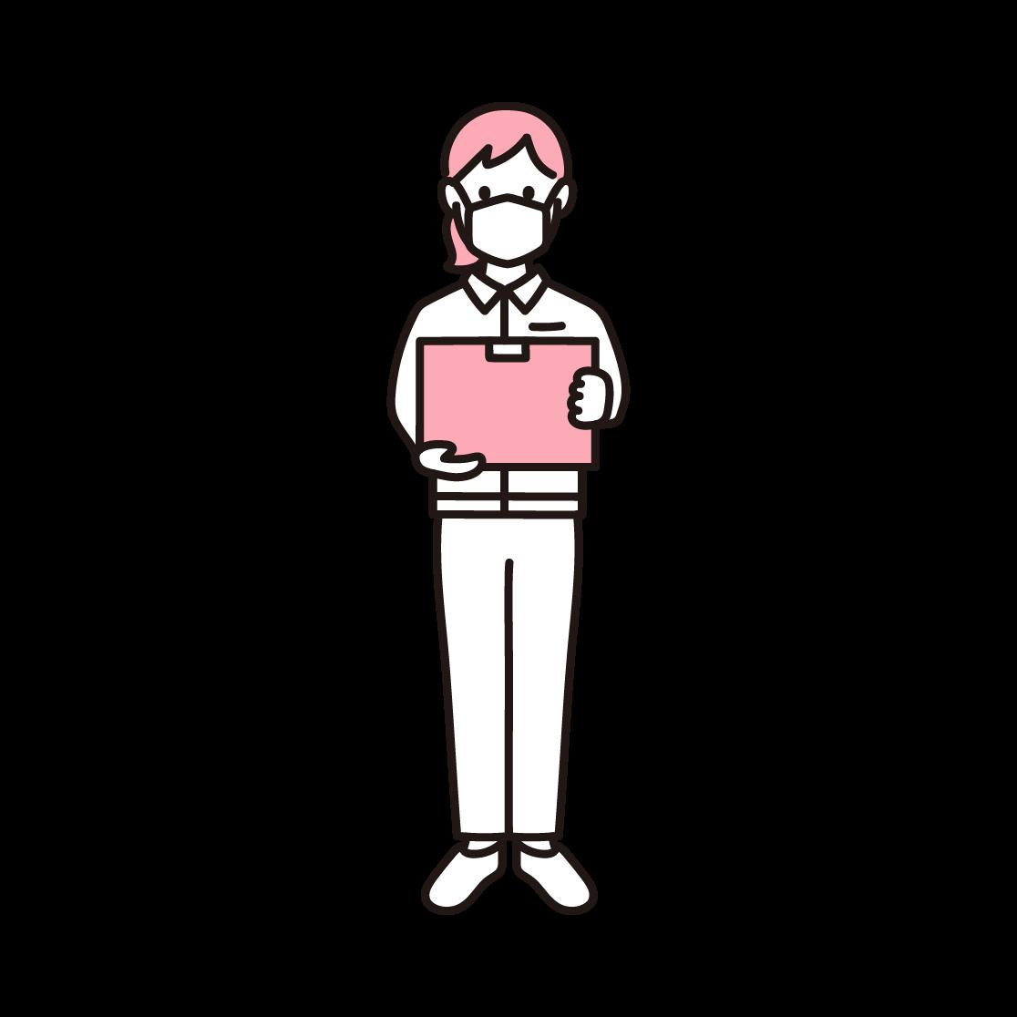 マスクを付けた女性の配達員の単色イラスト
