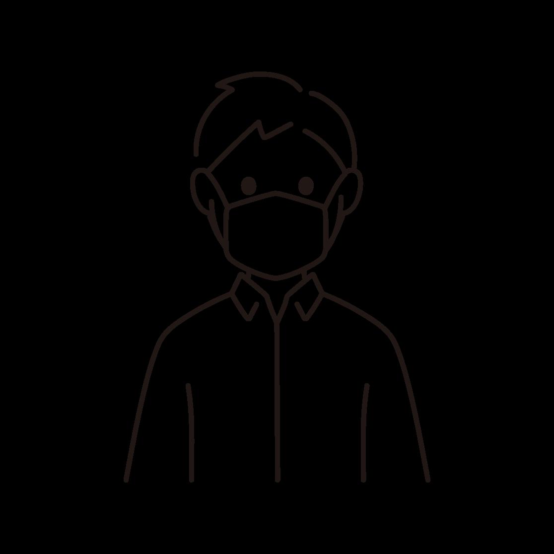 マスクをする人の線画イラスト