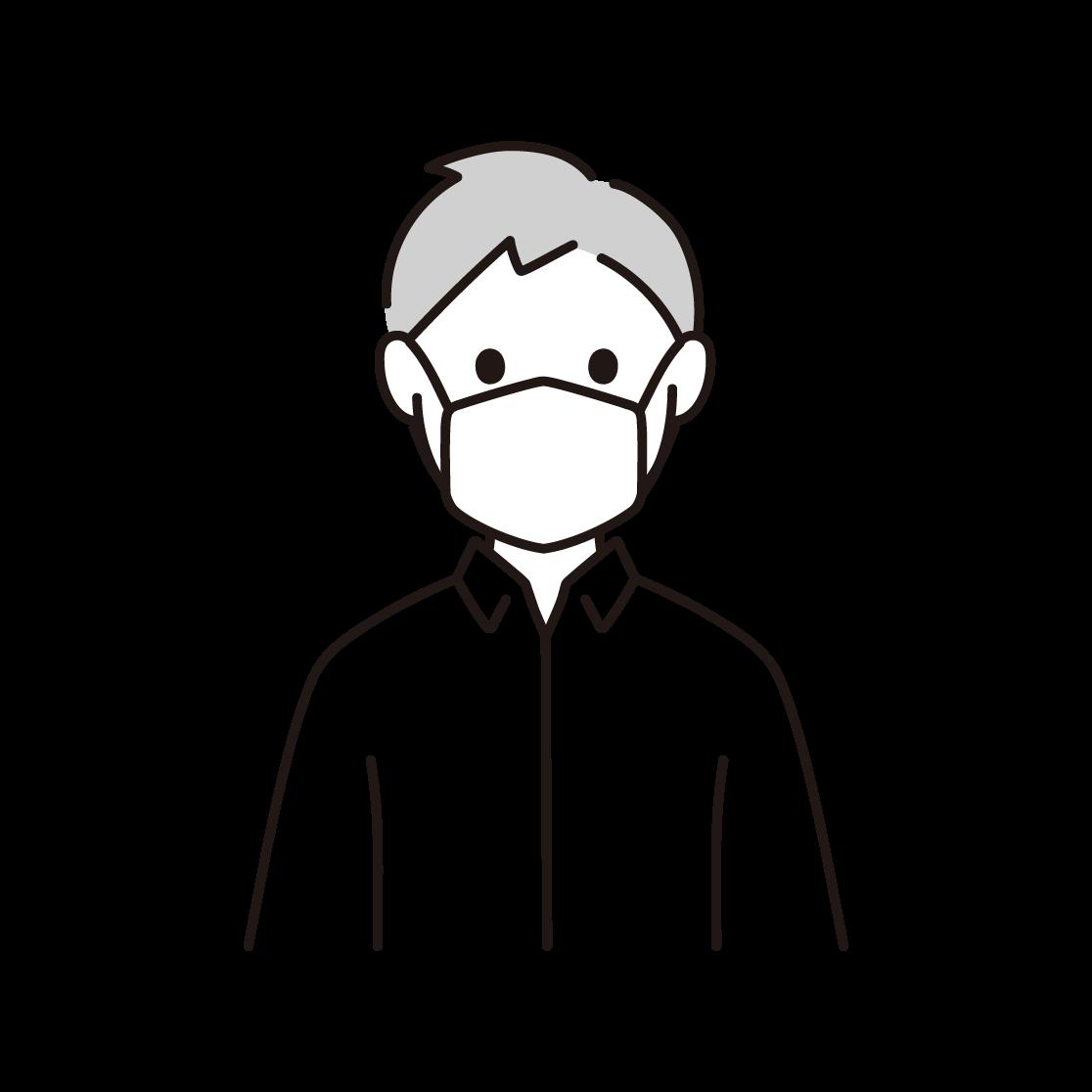 マスクをする人の単色イラスト