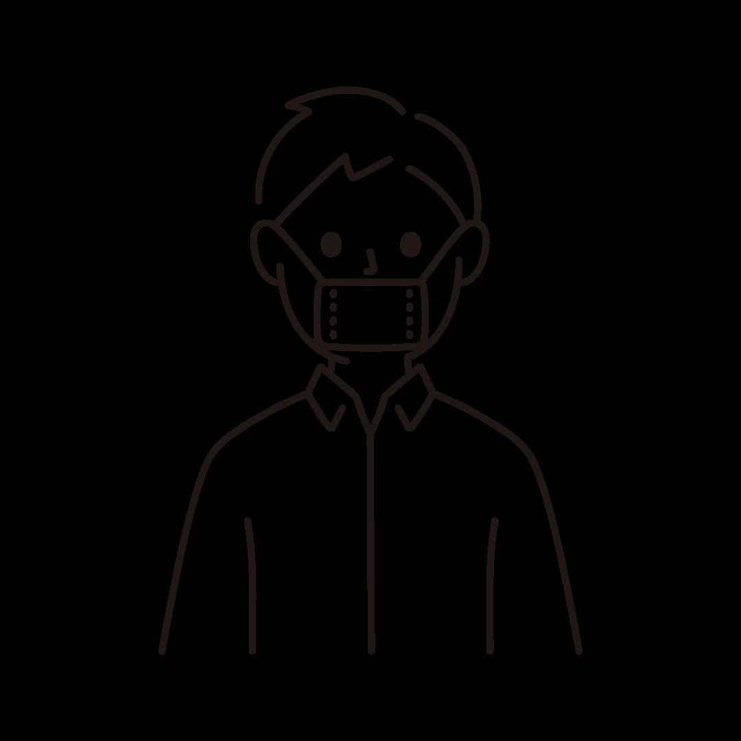 マスクから鼻が出てしまっている人のイラスト(線のみ)
