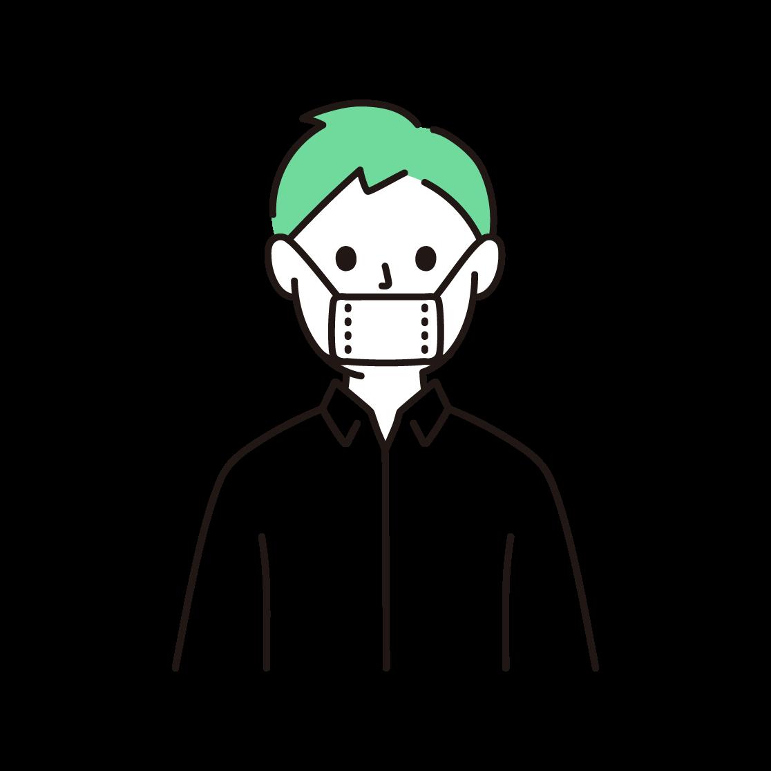 マスクから鼻が出てしまっている人の単色イラスト