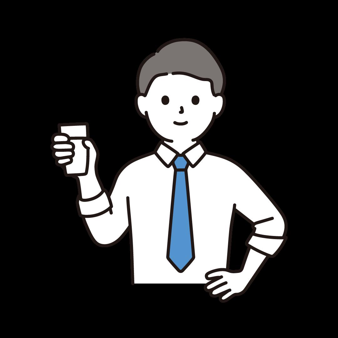 牛乳の入ったコップをもつ人のイラスト