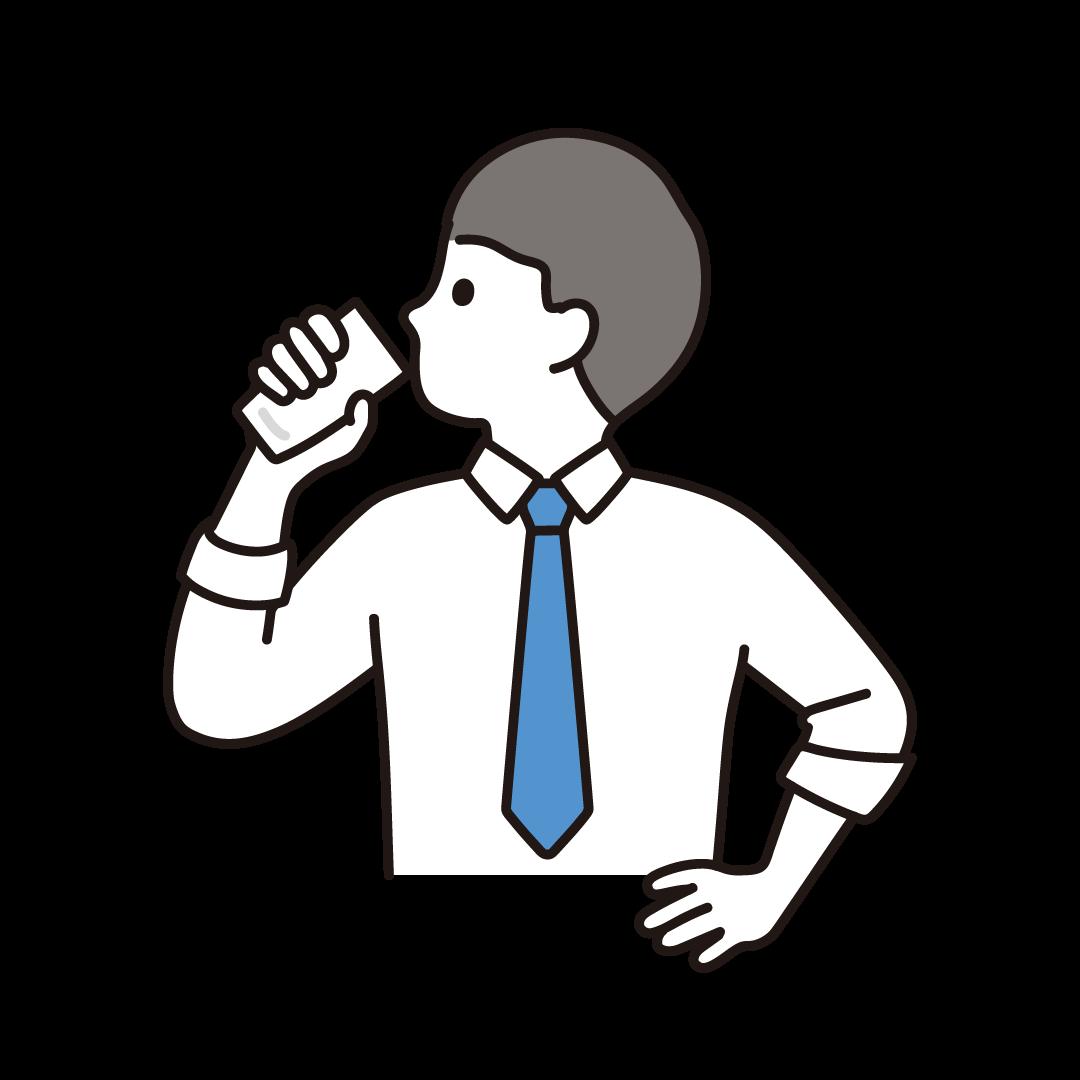 牛乳を飲む男性のイラスト