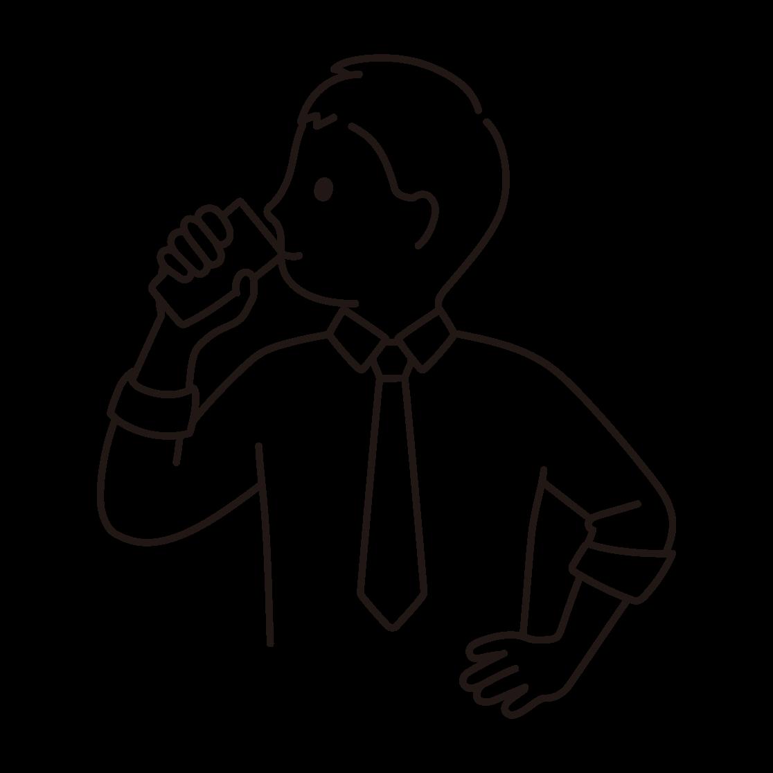 牛乳を飲む男性の線画イラスト