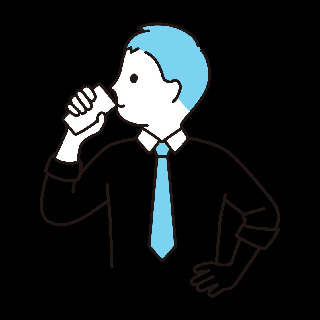 牛乳を飲む男性の単色イラスト