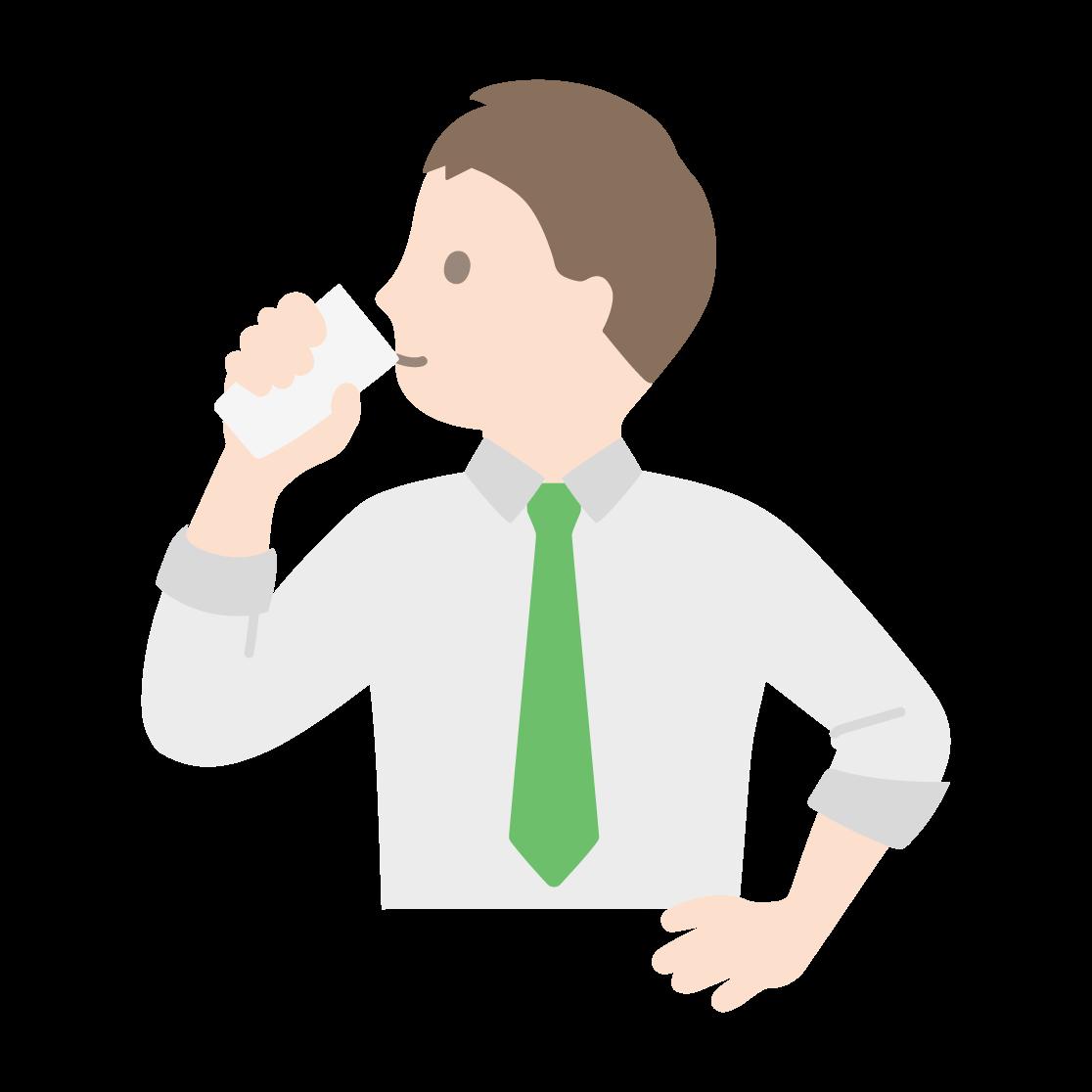 牛乳を飲む男性の塗りイラスト