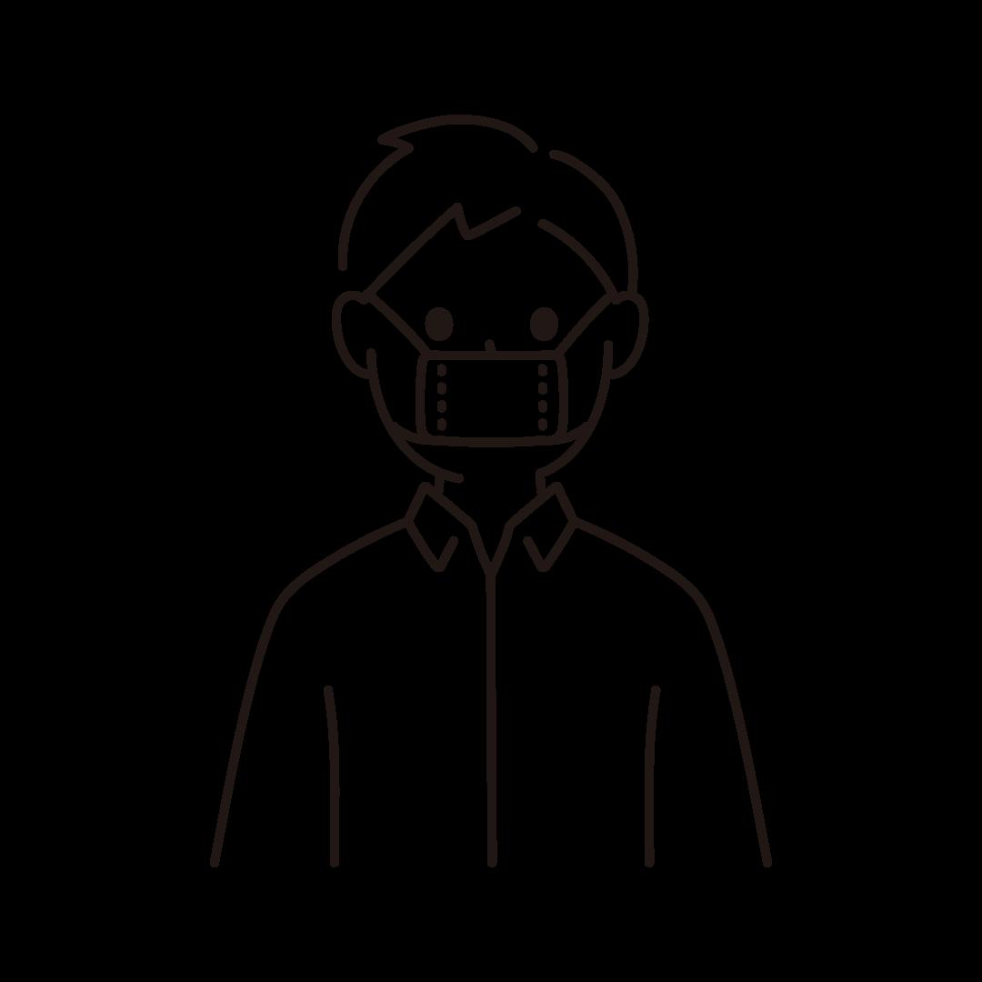 サイズの小さな布マスクをしている人のイラスト(線のみ)