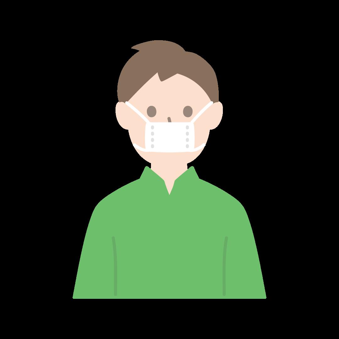 サイズの小さな布マスクをしている人のイラスト(塗り)