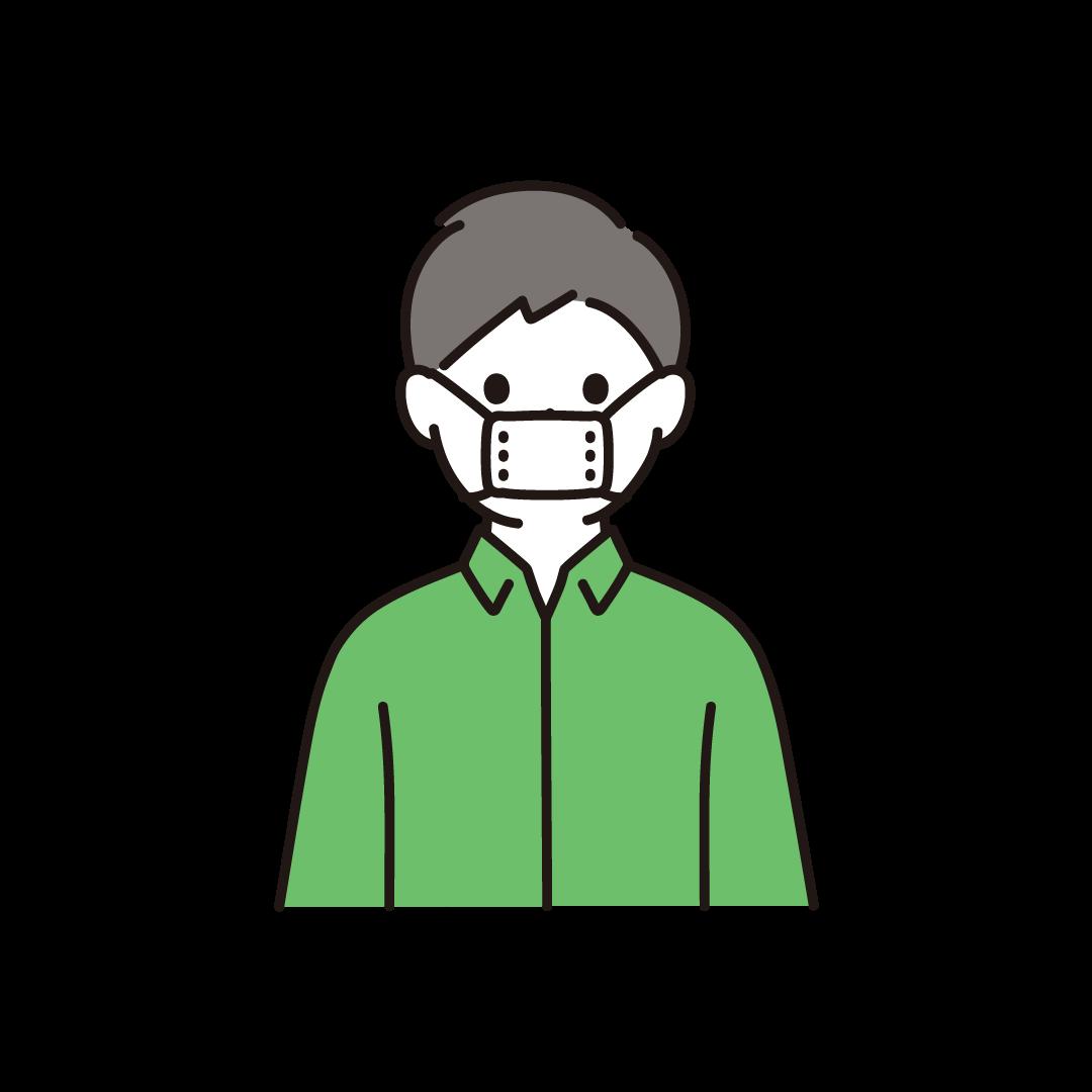 サイズの小さな布マスクをする人のイラスト