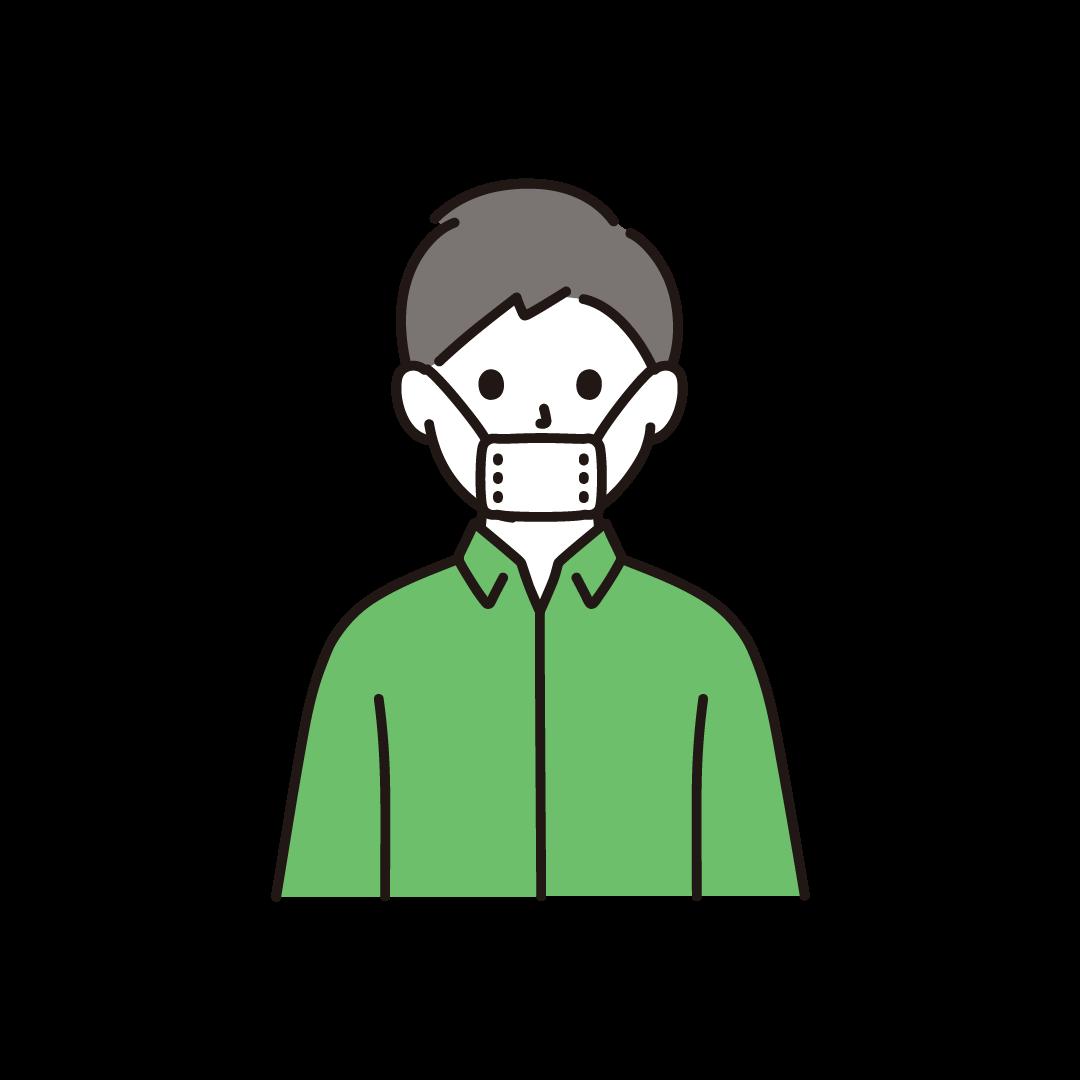 マスクから鼻が出てしまっている人のイラスト