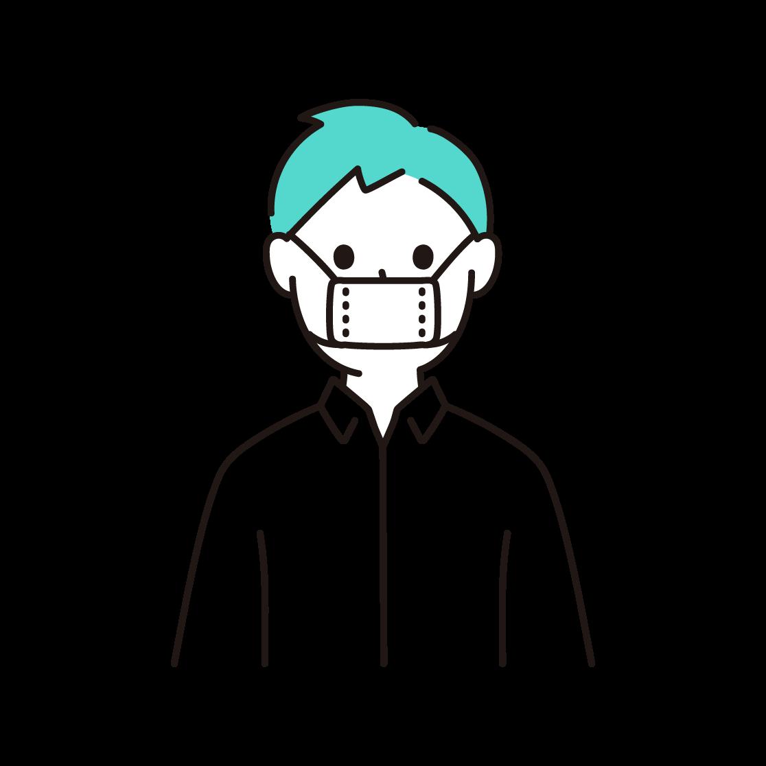 サイズの小さな布マスクをする人の単色イラスト