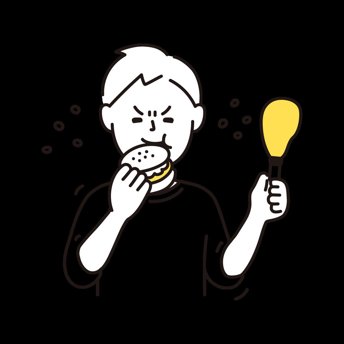 ストレス食いをする男性の単色イラスト