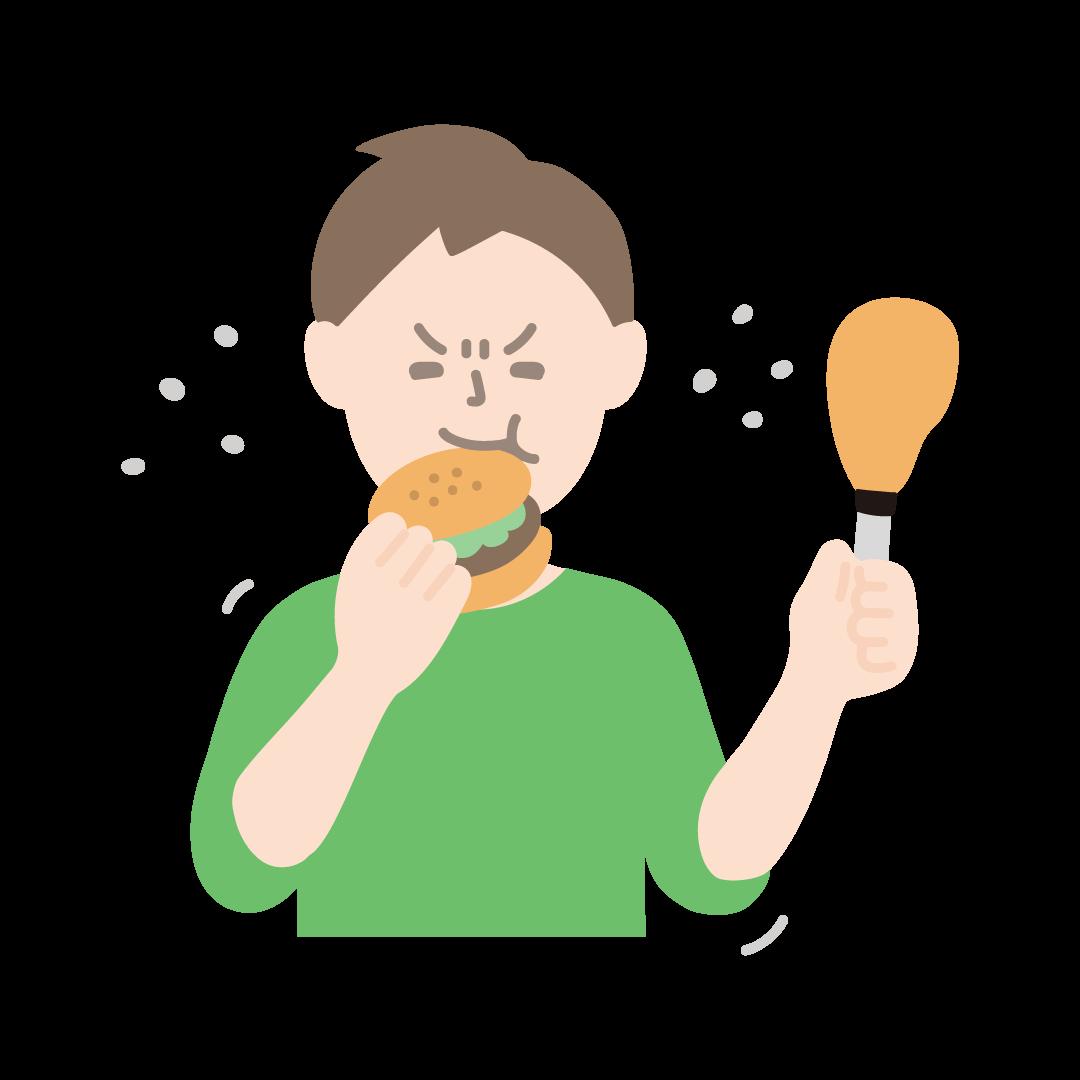 ストレス食いをする男性(塗り)
