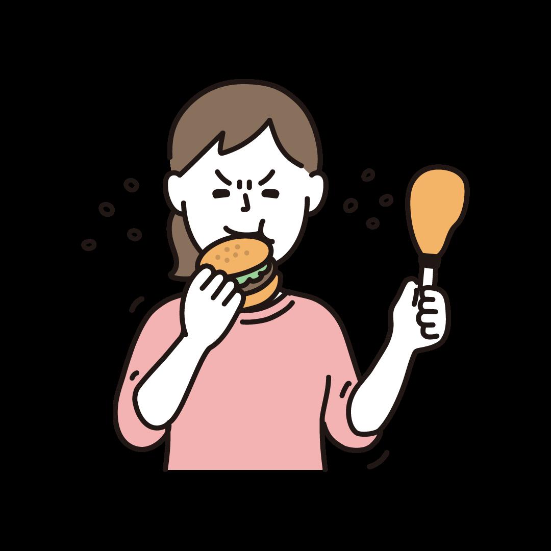 ストレス食いをする女性(線画カラー)