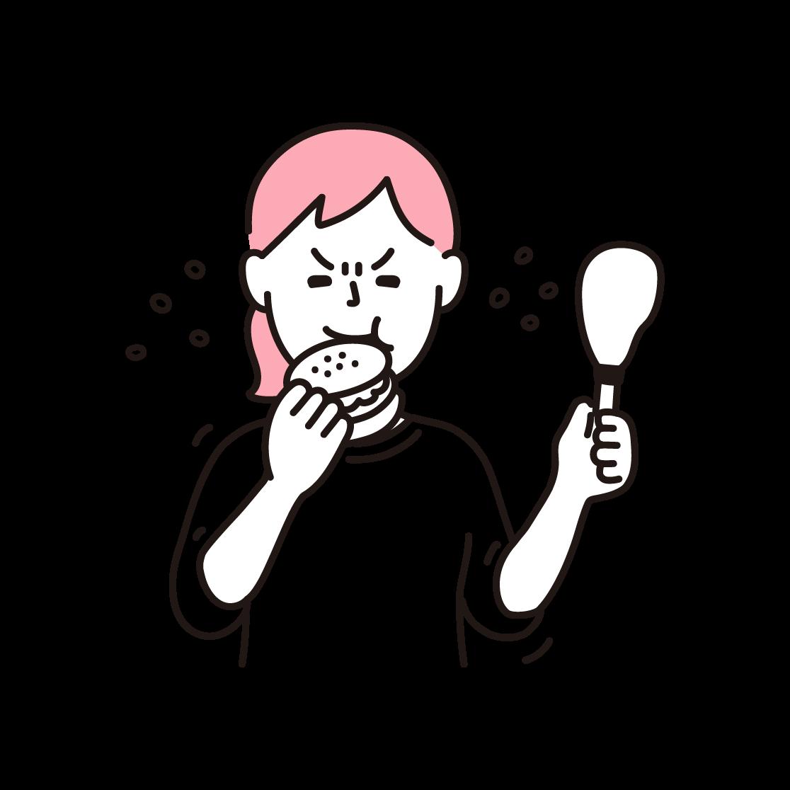 ストレス食いをする女性の単色イラスト