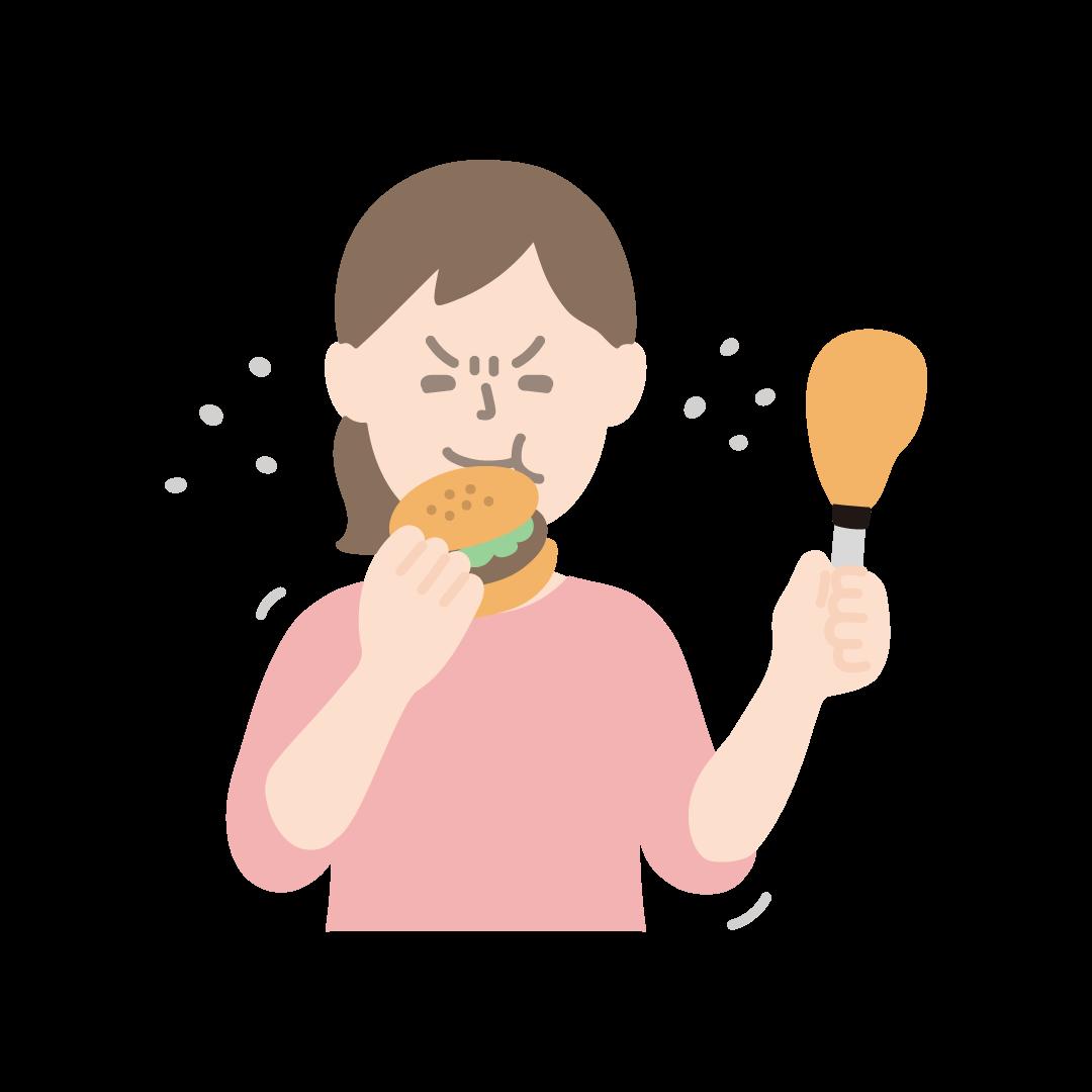 ストレス食いをする女性(塗り)