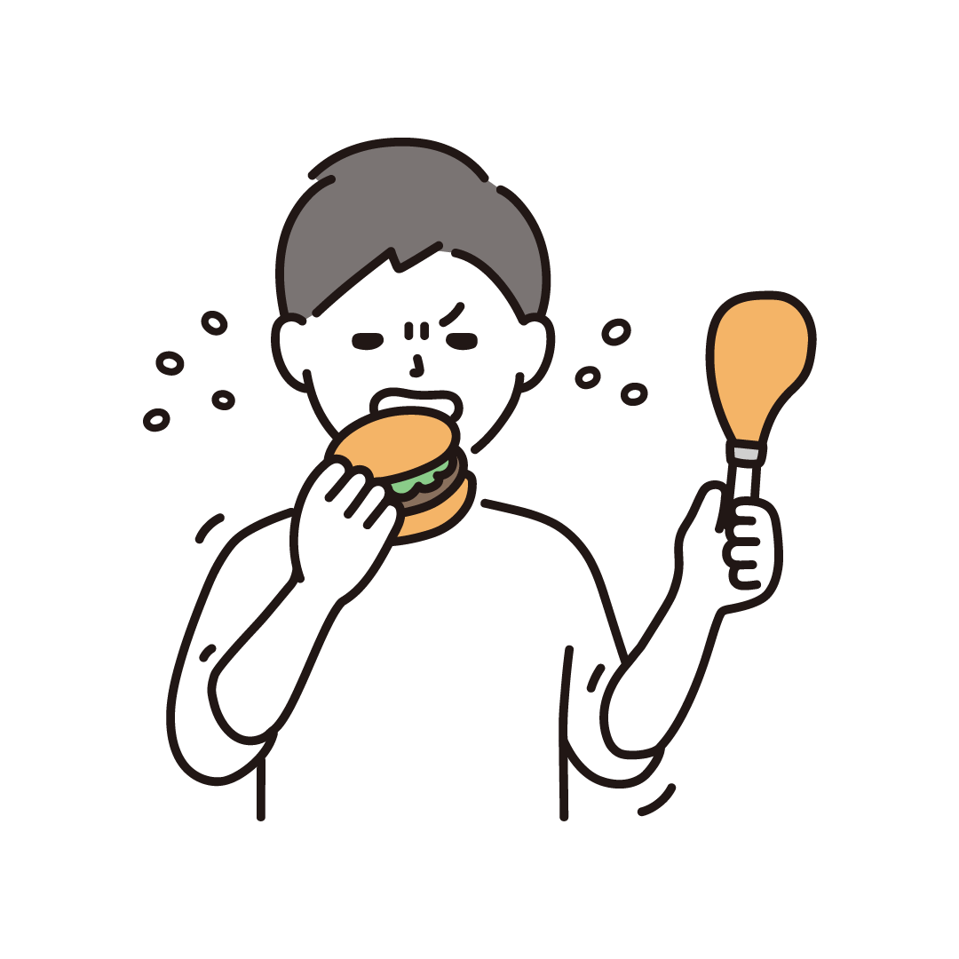 ストレス食いをする男性のイラスト
