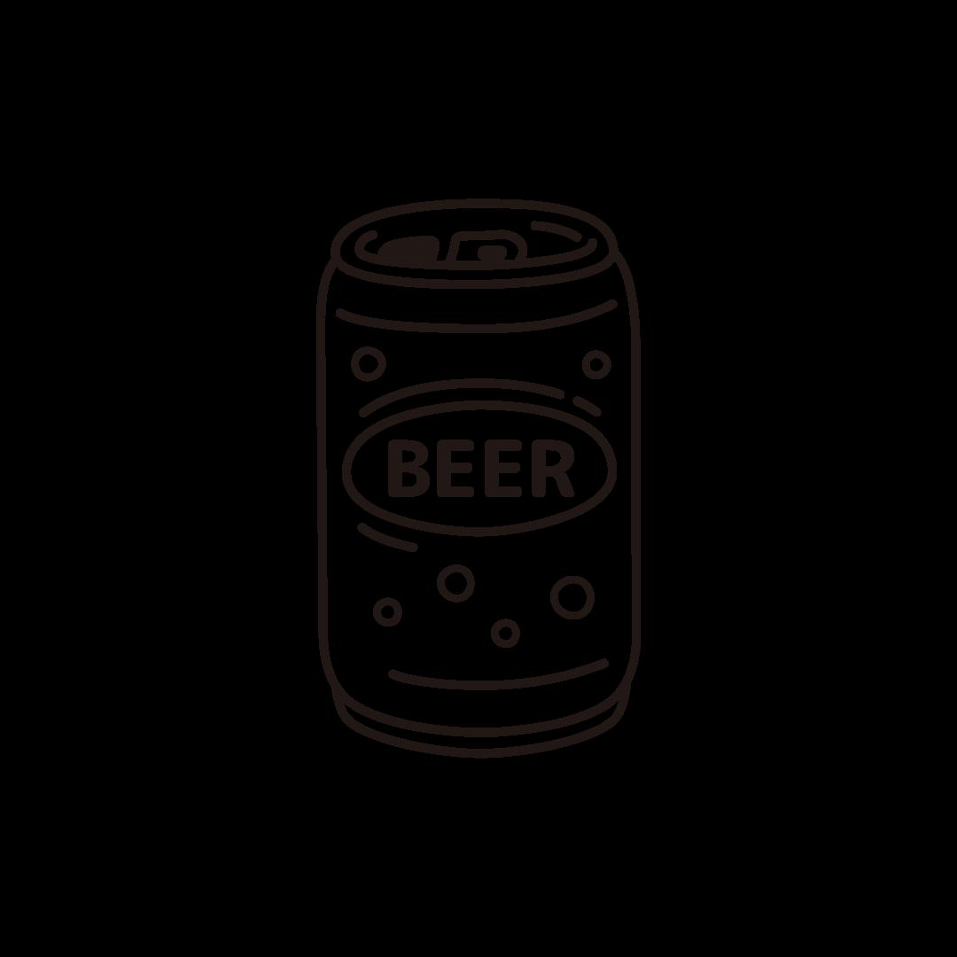 缶ビールのイラスト (線のみ)