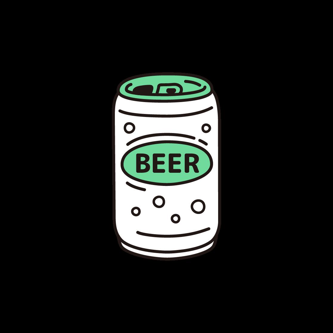缶ビールの単色イラスト