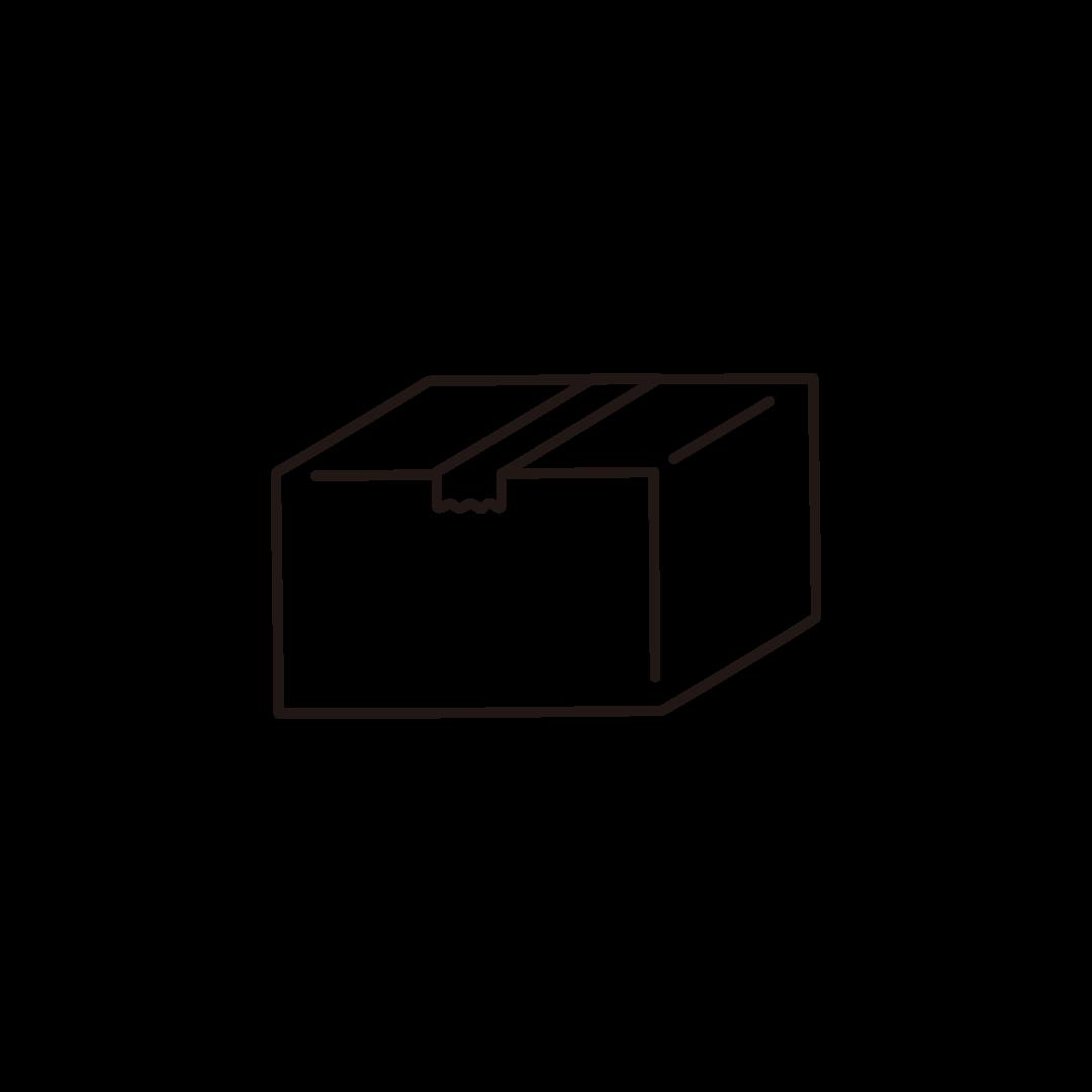段ボール箱のイラスト(閉じた状態)/線のみ