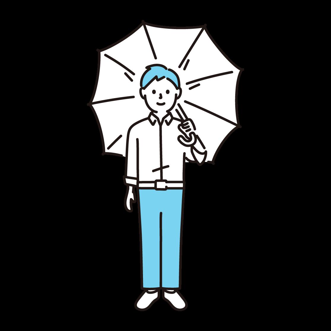 傘をさす男性の単色イラスト
