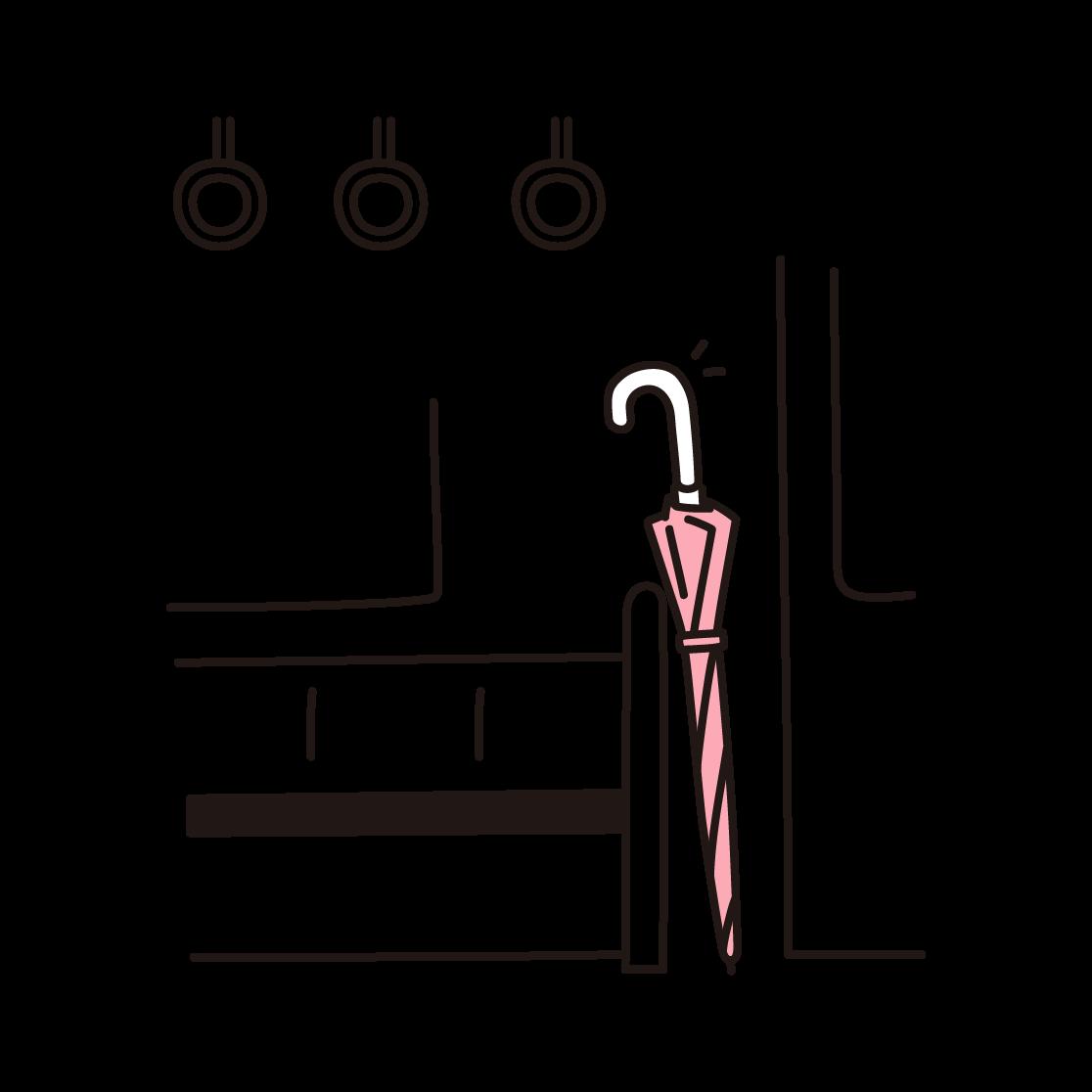 置き忘れた傘の単色イラスト