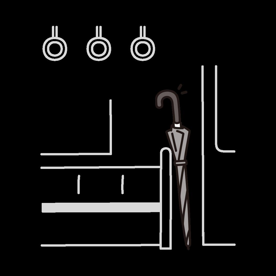 置き忘れた傘(電車)のイラスト