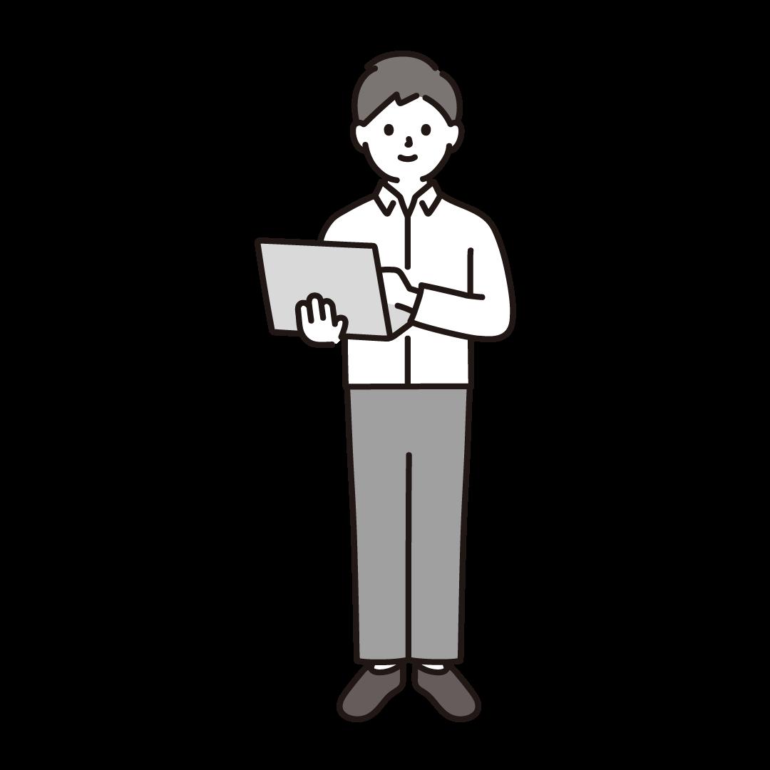 パソコンを持って立っている男性のイラスト