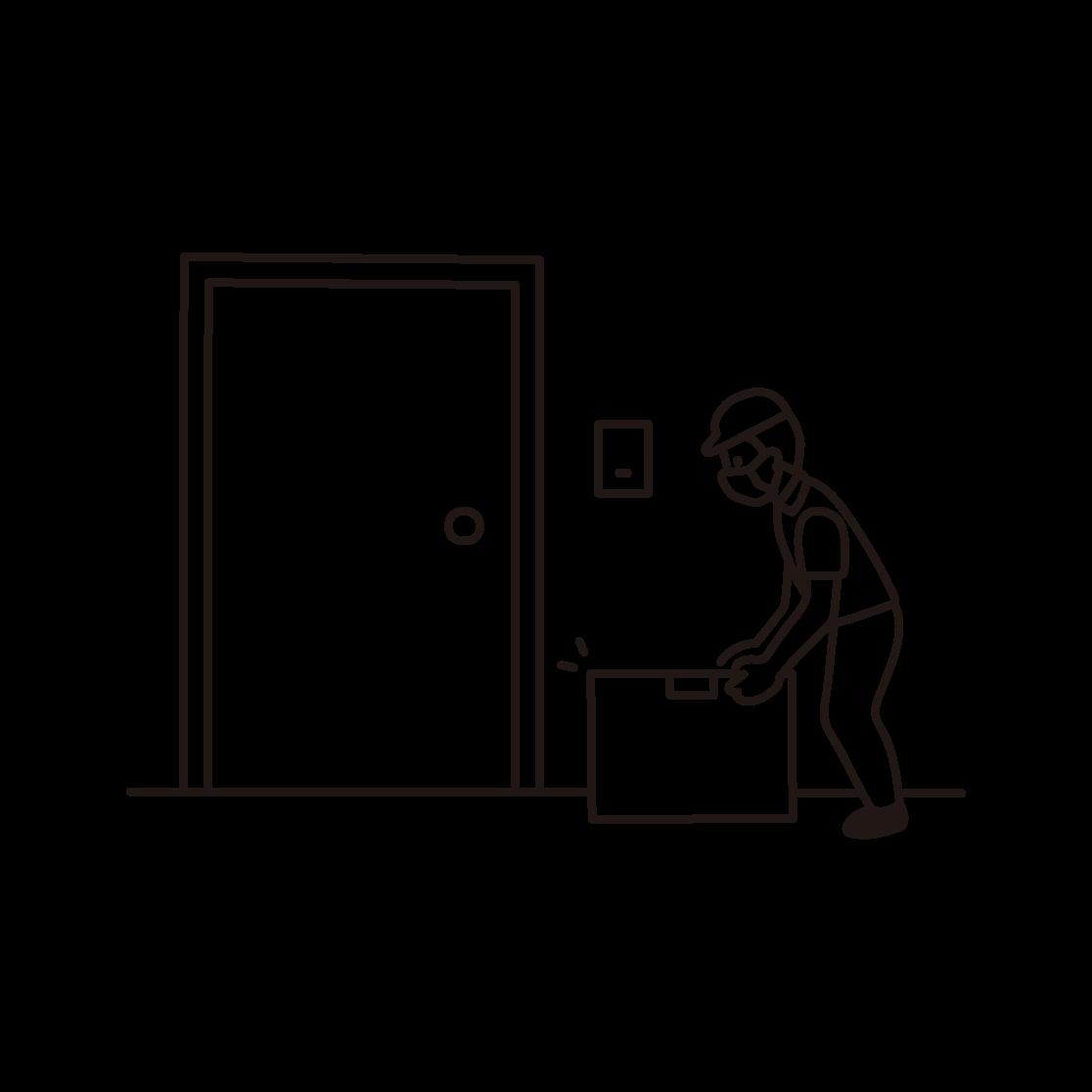 置き配をする配達員の線画イラスト