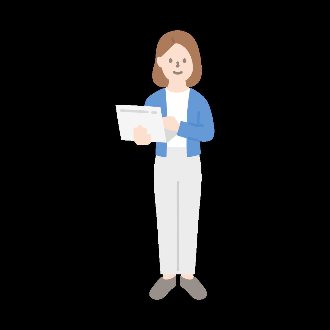 パソコンを持って立っている女性のイラスト (線のみ)