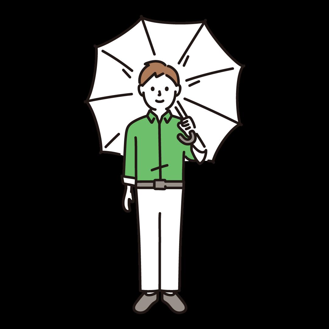 傘をさす男性のイラスト