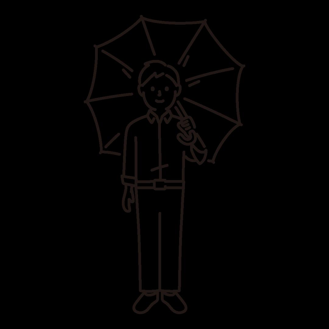 傘をさす男性のイラスト (線のみ)