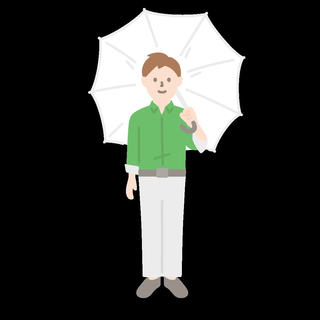 傘をさす男性のイラスト (塗り)