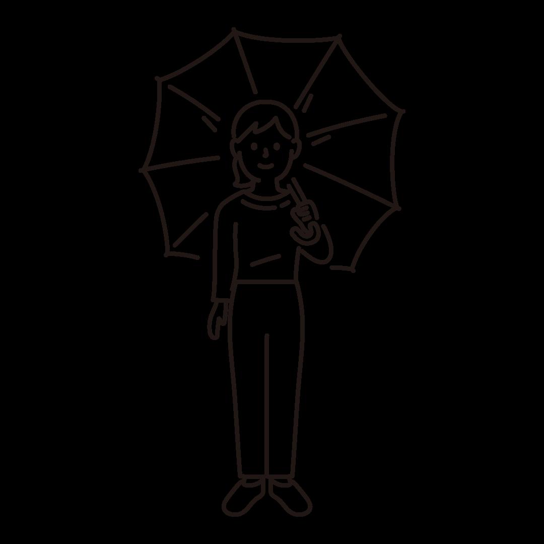傘をさす女性のイラスト (線のみ)