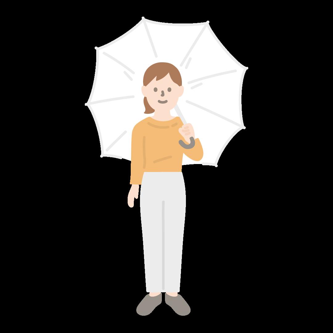 傘をさす女性のイラスト (塗り)
