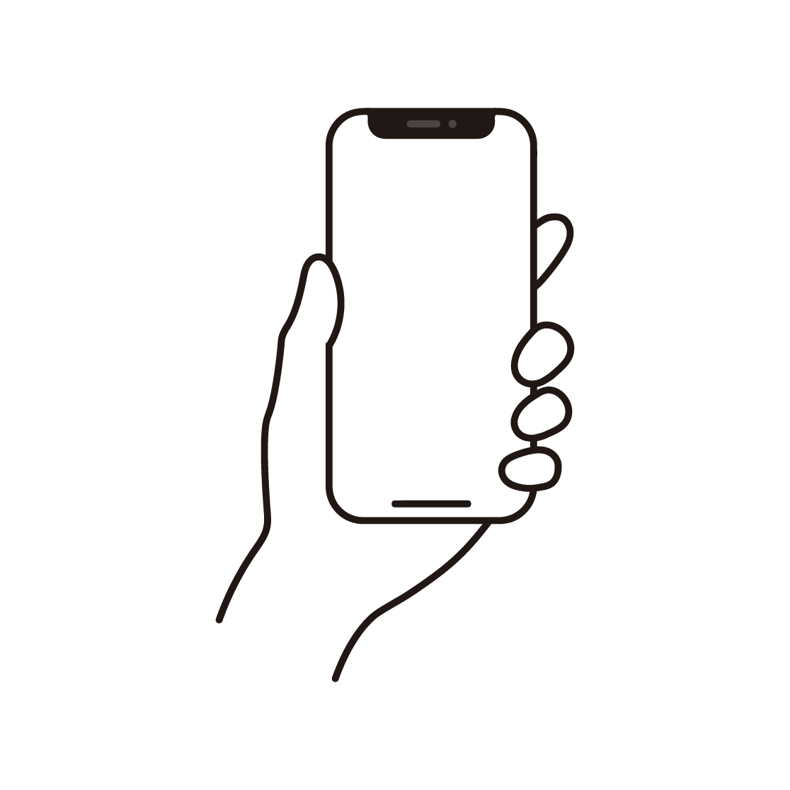 スマートフォンを持つ手