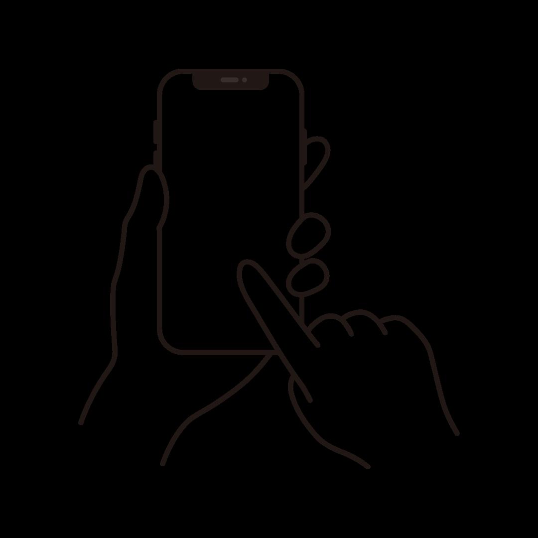 スマートフォンを操作する手のイラスト (線のみ)