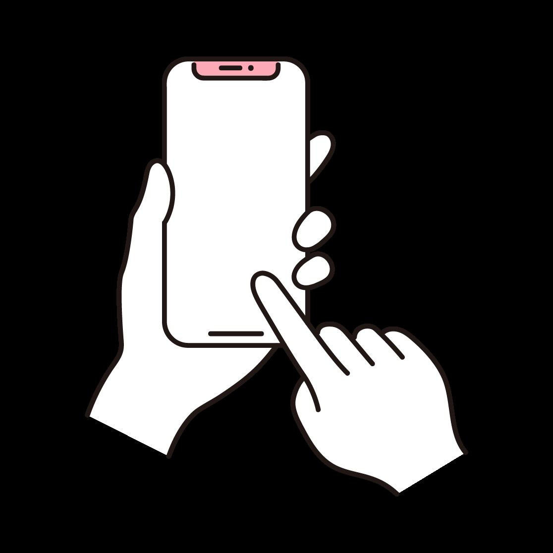 スマホを操作する手の単色イラスト