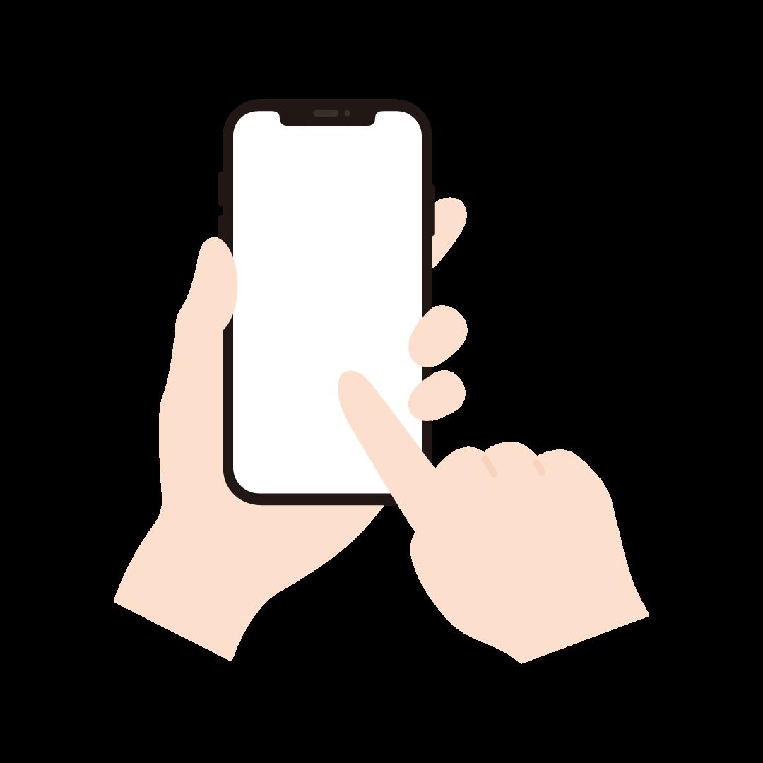 スマートフォンを操作する手のイラスト (塗り)
